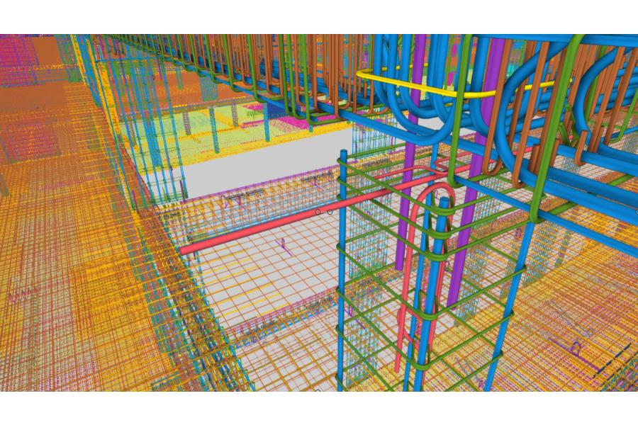 """Ein Modell eines Gebäudes in der """"Tekla Structures""""-Software."""