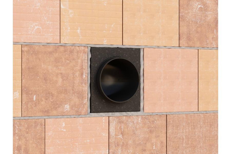 """Das Einbausystem """"Simplex"""" in einer Mauer."""