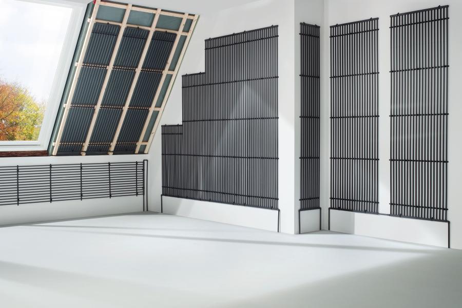 """Grafik des """"black system"""" als Wand- und Deckenheizung in einem Raum."""