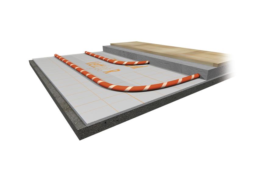 Die Grafik zeigt den Aufbau des neuen Renovierungssystems von Purmo für Fußbodenheizungen.