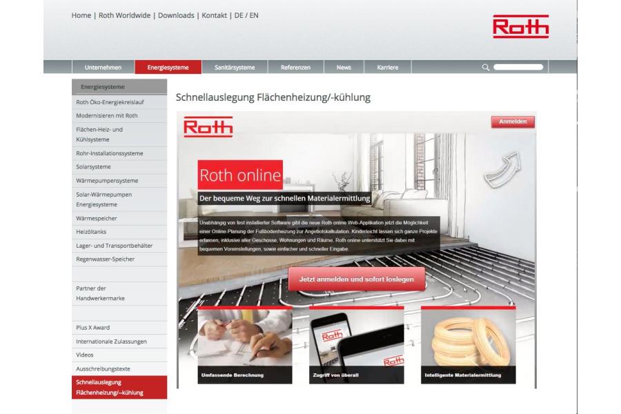 """Screenshot des neuen Schnellauslegungsprogramms """"Roth Online""""."""