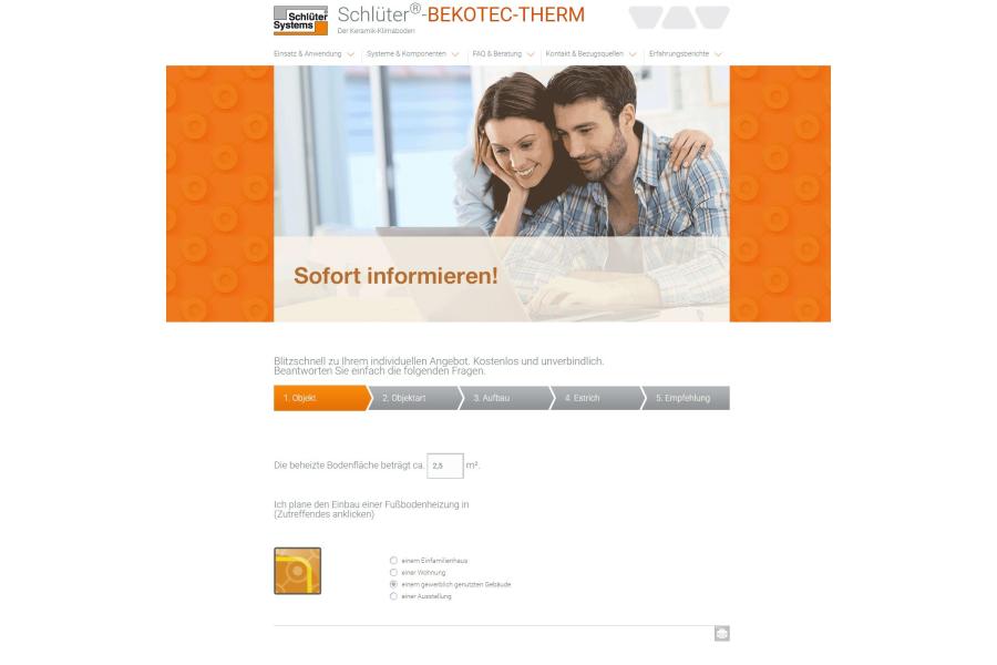 Screenshot der neuen Website von Schlüter Systems.