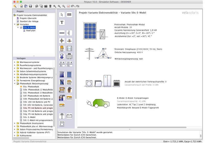 Screenshot der erweiterten