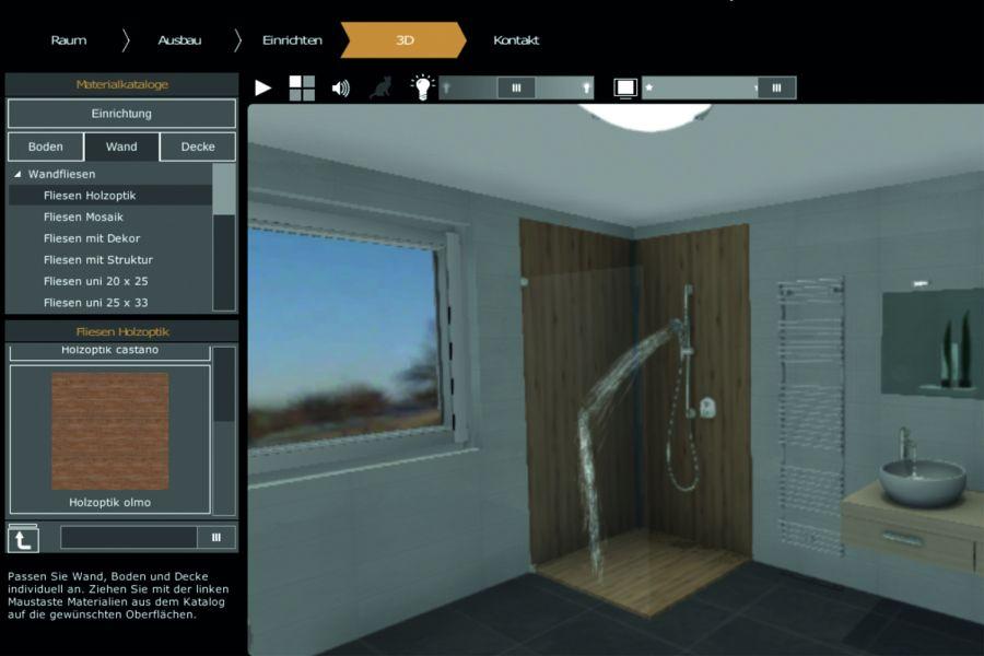 Das Bild zeigt einen Screenshot aus dem neuen 3D-Badplaner von ELEMENTS.