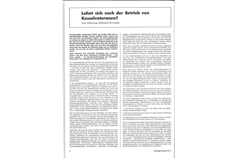 """Die erste Seite des HeizungsJournal-Artikels """"Lohnt sich noch der Betrieb von Kesselveteranen?""""."""