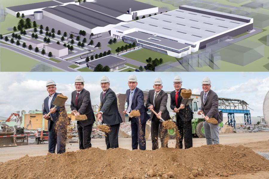 Das Bild zeigt oben das neuen Produktions- und Verwaltungsgebäudes und unten den ersten Spatenstich.