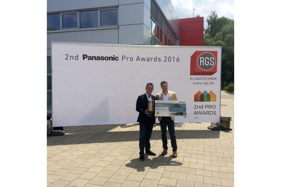 Die Projektverantwortlichen von RGS Technischer Service GmbH aus Ingolstadt mit dem Panasonic PRO Award.