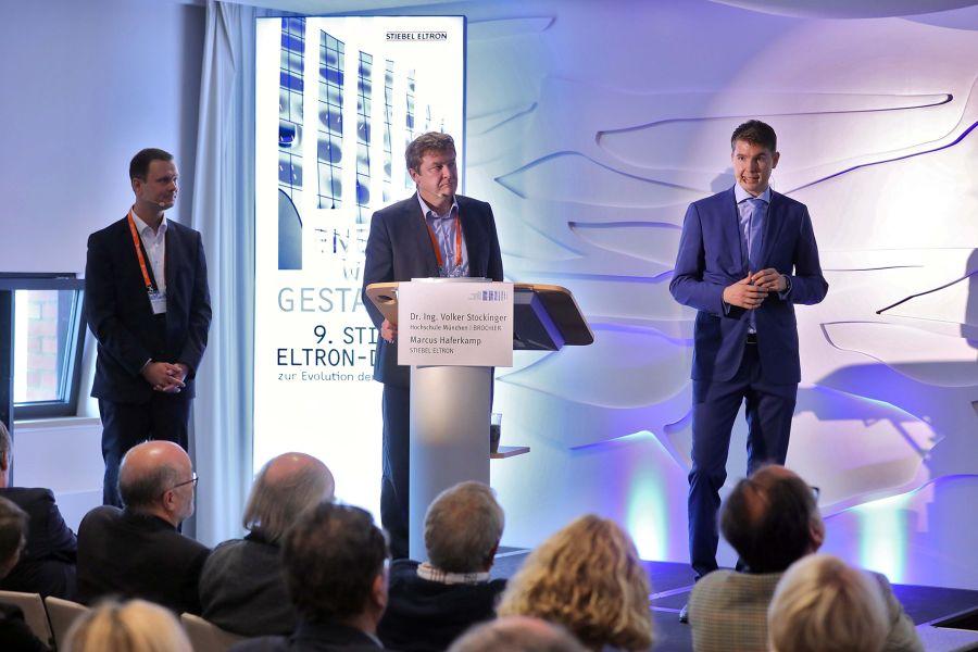 Dr. Volker Stockinger, Markus Haferkamp und Henning Schulz auf dem Architekten-Symposium zur Energiewende.