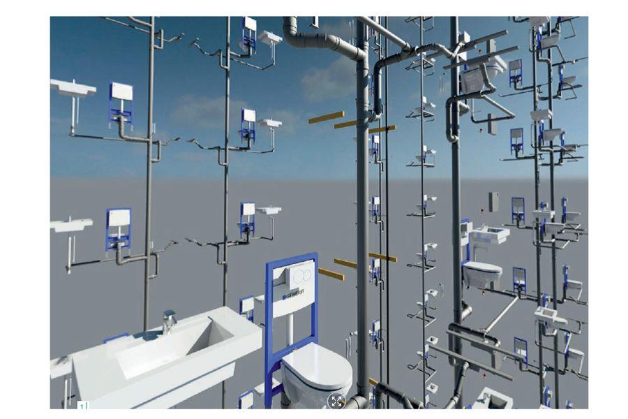 Mit den von Geberit zur Verfügung gestellten BIM-Daten lassen sich Sanitärinstallationen in Gebäuden virtuell visualisieren. Eine große Hilfe bei der Planung, Installation und Wartung.