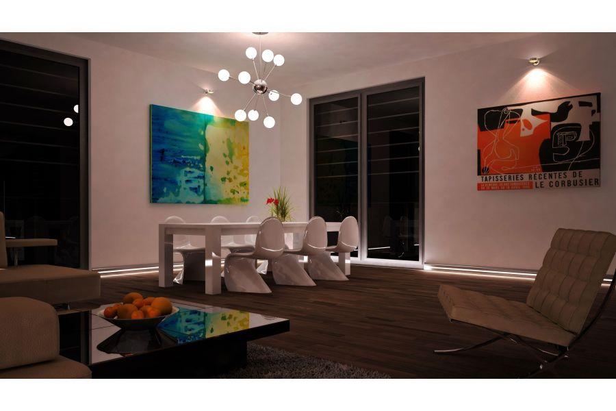 Ein Wohnzimmer mit einer Sockelleistenheizung.