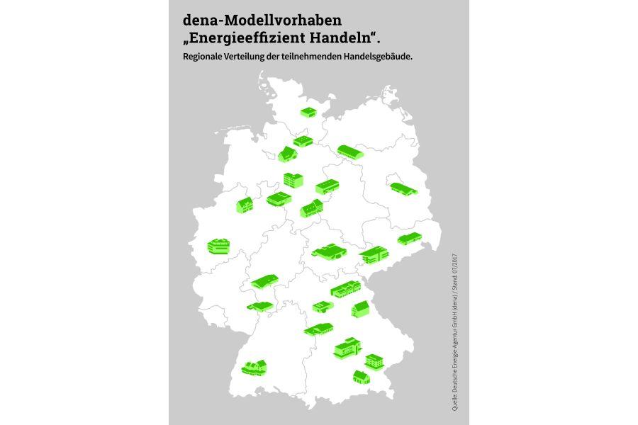 Die Deutschlandkarte zeigt die teilnehmenden Handelsgebäude am dena-Modellvorhaben