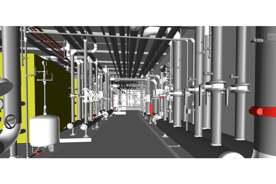 Die Installationen der Gebäudetechnik in einem der technischen Räume des Hilton Schiphol Hotels.