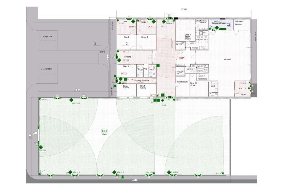 Digital Darstellung der Überwachungsbereiche.