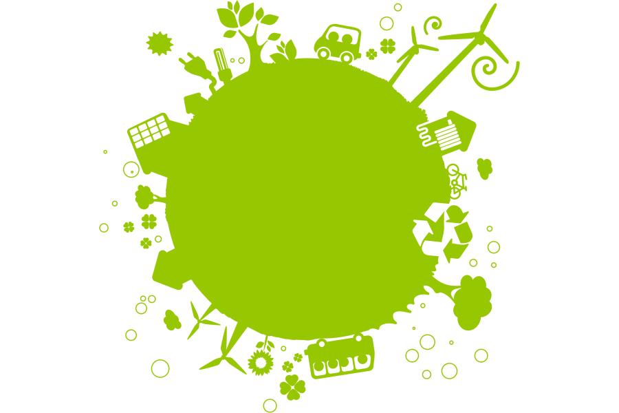Eine stilisierte grüne Weltkugel.