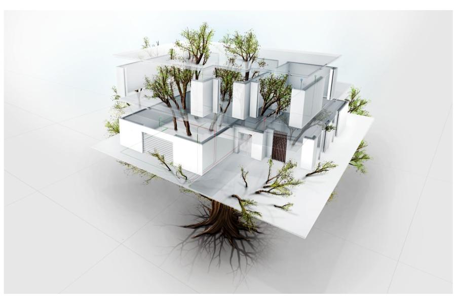 Die Grafik zeigt einen Baum, der durch das Modell einer Wohnung wächst.