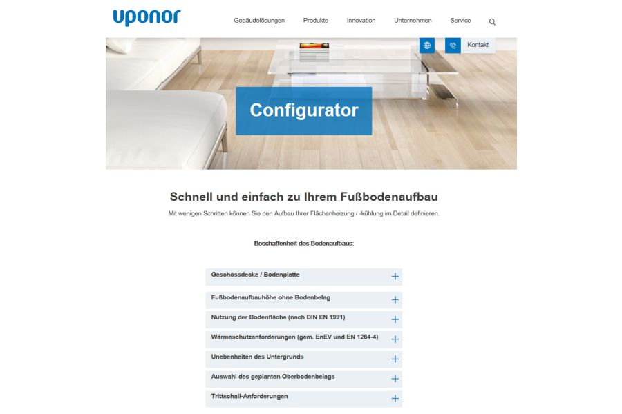 Screenshot des Auswahl-Menüs des Uponor