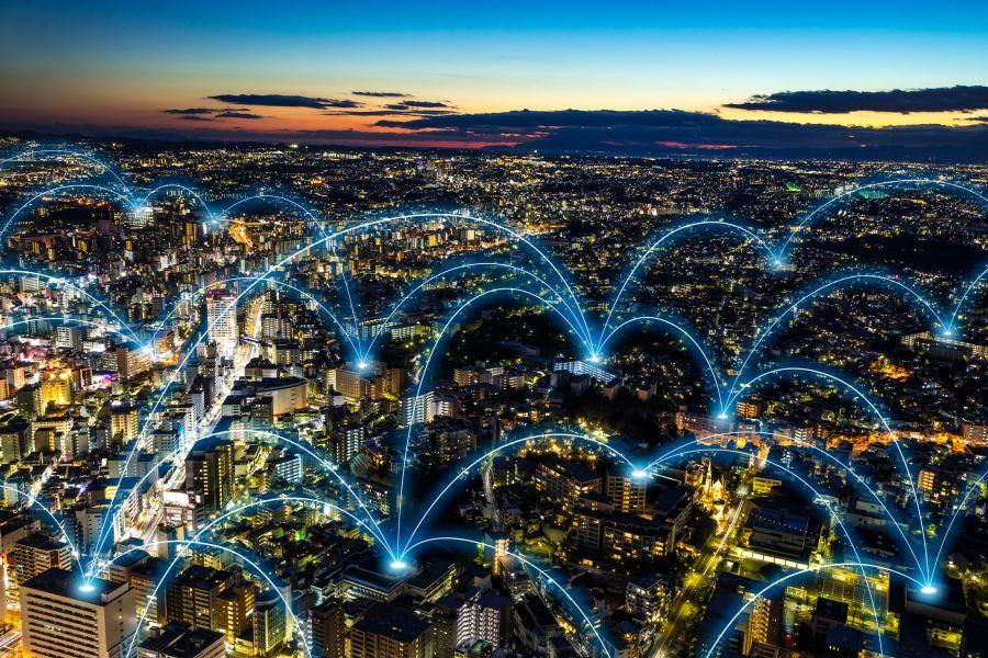 Die Grafik zeigt miteinander vernetzte Gebäude.