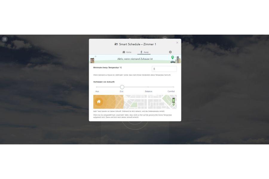 Screenshot der Away-Einstellmöglichkeiten in der tado°-Browser-App.