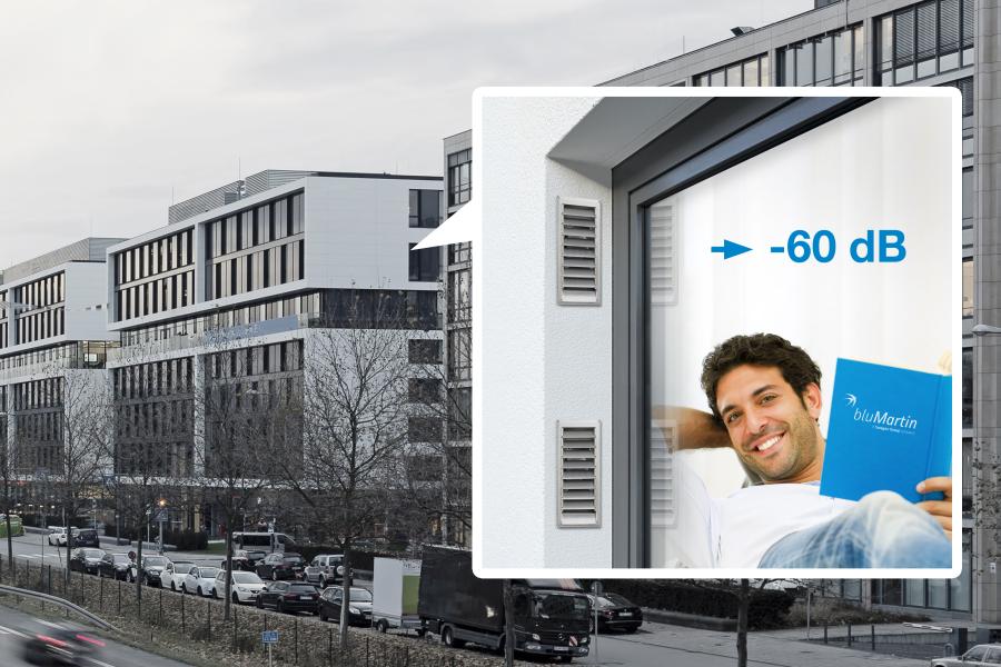 """Werbegrafik für die optimierte Laibungslösung des """"freeAir""""-Lüftungssystems."""