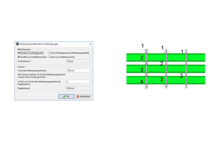 "Screenshots aus der BIM-Software ""Plancal Nova 14.1""."