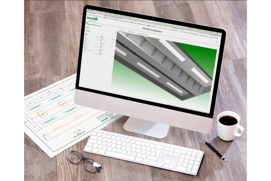 Entwurf einer Großküchenhaube per CAD auf einem Computer-Bildschirm.