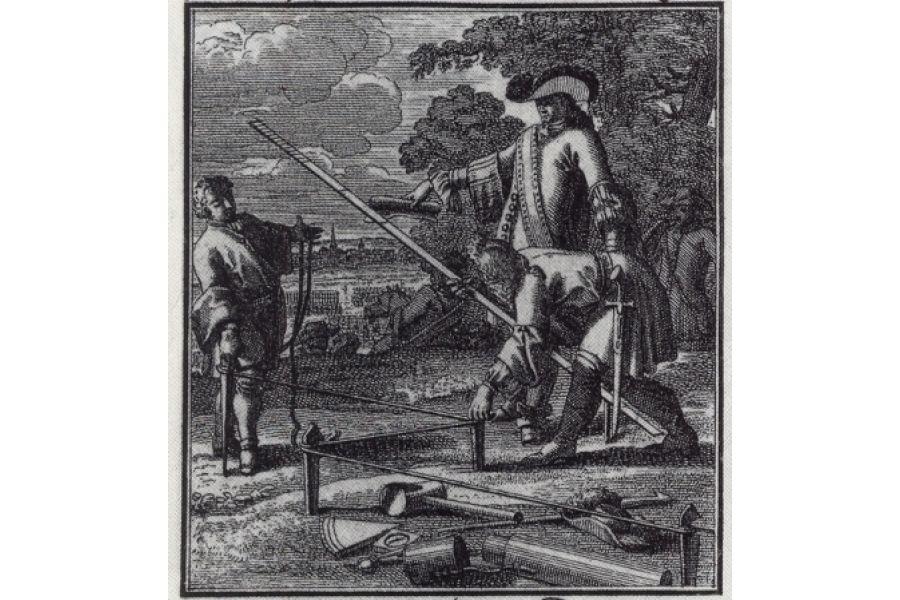 Ganz so altmodisch geht es auf deutschen Baustellen nun doch nicht zu… Ein Ingenieur anno 1689.