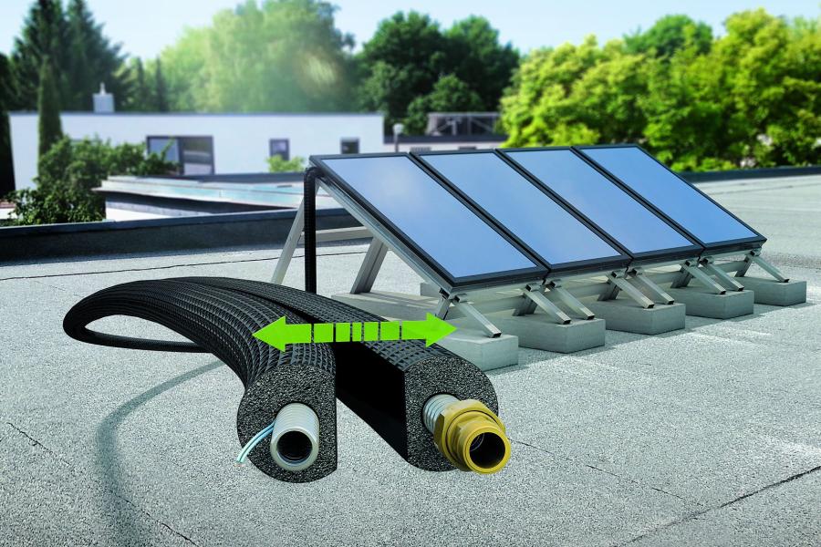 """Das Doppelrohrsystem """"ArmaFlex DuoSolar e-Save"""" für thermische Solaranlagen von Armacell."""