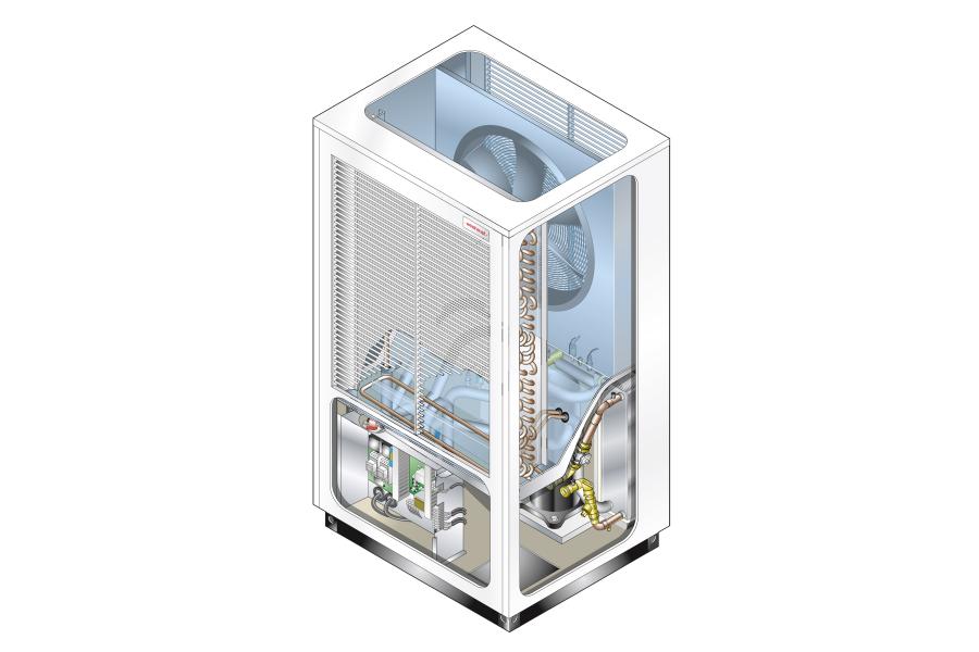 Luft-Wasser-Wärmepumpe von Weishaupt.