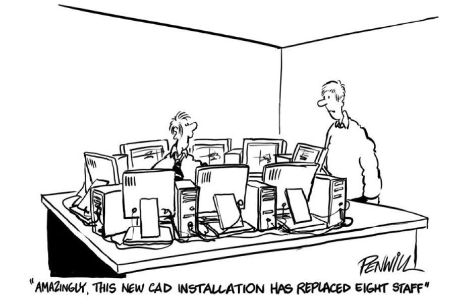 Cartoon mit einem Mann vor acht PC-Bildschirmen