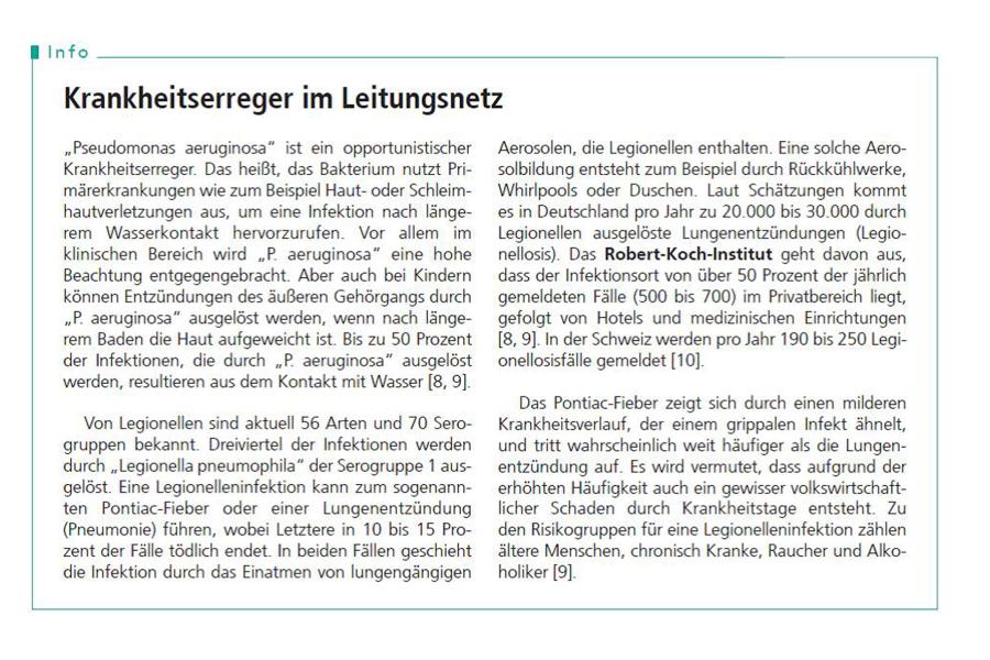 Information über Krankheitserreger im Leitungsnetz.