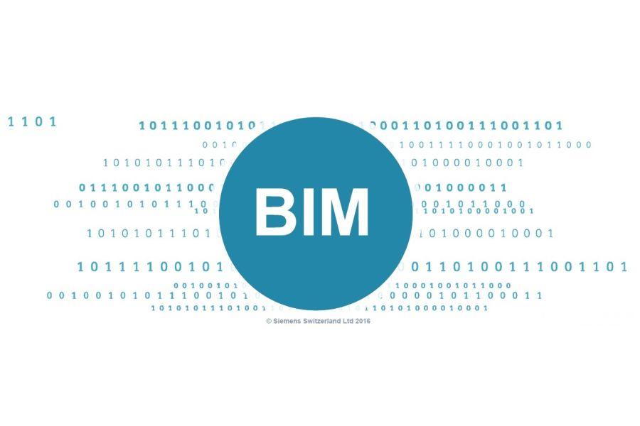 Viele Zahlen 0 und 1 um das Wort BIM herum