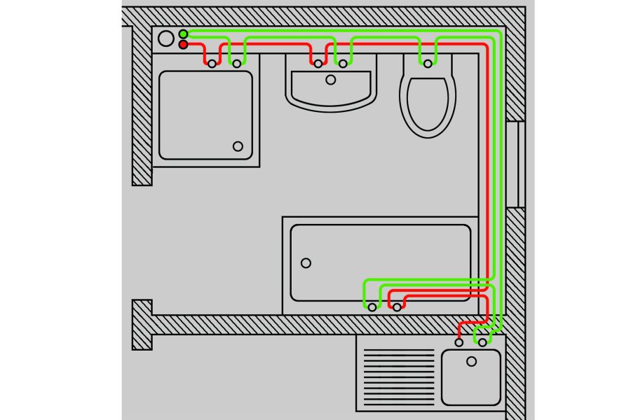 Bild 3: Reihen- (oben) und Ringleitungssystem (darunter) sind eine wirksame Möglichkeit, schon in der Planungsphase einer Trinkwasser-Installation den Grundstein für dauerhaft hygienisch einwandfreie Verhältnisse zu legen.