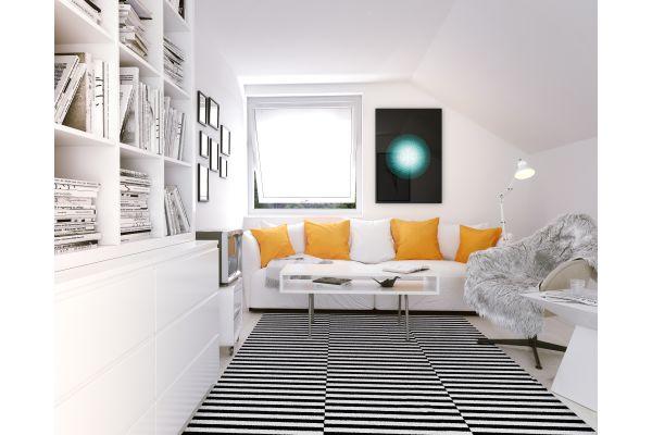 Ein modern eingerichtetes Wohnzimmer.