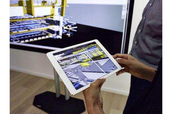 Ein BIM-Modell auf einem Tablet.