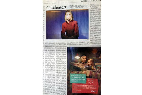 """Zeitungsseite mit der Anzeige: Bevor ein falscher Eindruck entsteht: """"Gescheitert"""" bezieht sich auf Marissa Mayer vom Internetriesen Yahoo, nicht auf die erneuerbar energetische e-on."""