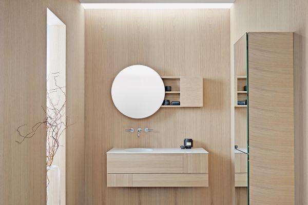 Möbel und Waschtisch Coco von burgbad bilden eine filigrane Einheit.