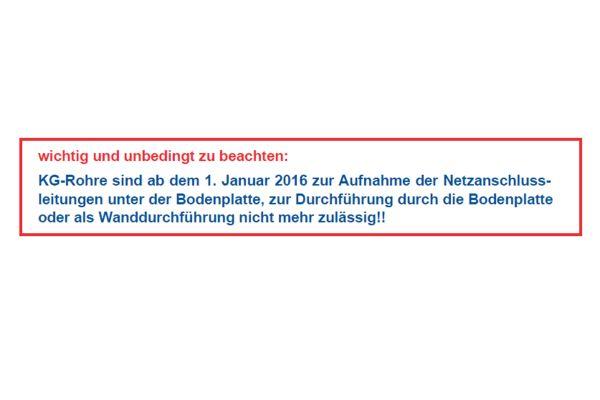KG-Rohre nicht mehr zuässig, sagen die Stadtwerle Hagenow.