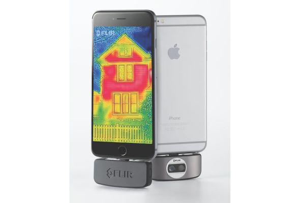 Ein mittels Thermografie erzeugtes Bild auf einem Smartphone.