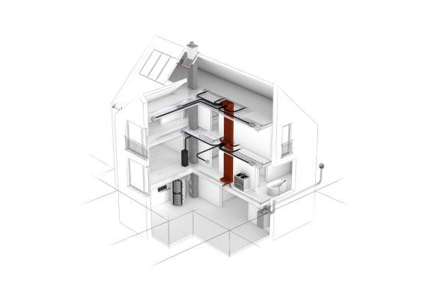 Schematische Darstellung eines Gebäudes mit Wohnraumlüftung.
