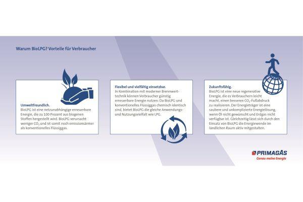 Grafische Darstellung der Vorteile von BioLPG für Verbraucher.