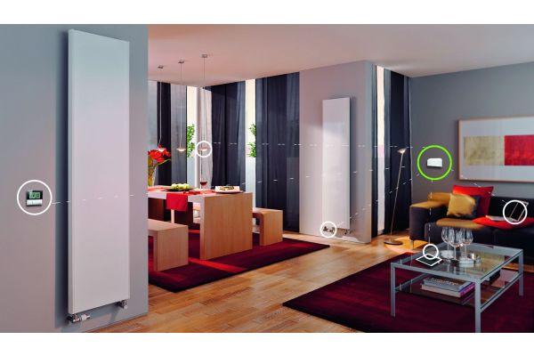 Ein Wohnzimmer, ausgestattet mit Komponenten des Kermi-