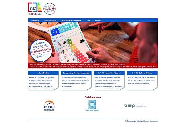 Die Startseite von  www.heizungslabel.de.