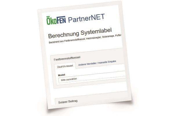 Screenshot des Energielabel-Rechners von ÖkoFEN.