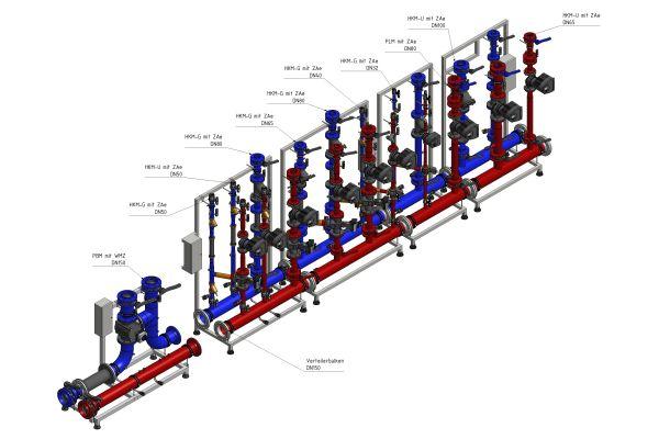 3D-Grafik eines Verteilsystems.