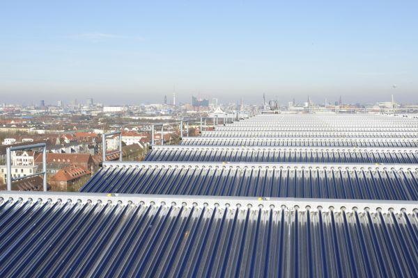 Thermische Solaranlage in Hamburg-Wilhelmsburg.