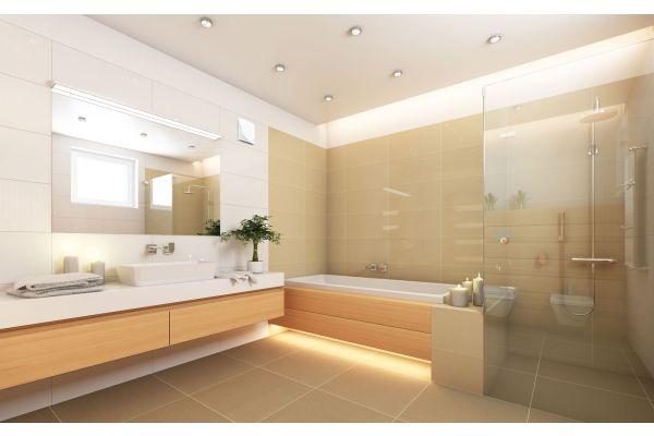Ein Badezimmer mit dem Abluftsystem