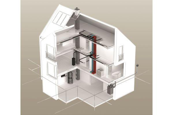 Schema eines Einfamilienhauses mit dem