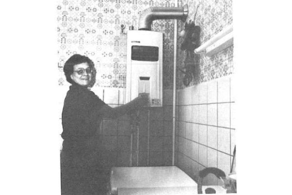 Ein Umlaufheizer in einem Bad.