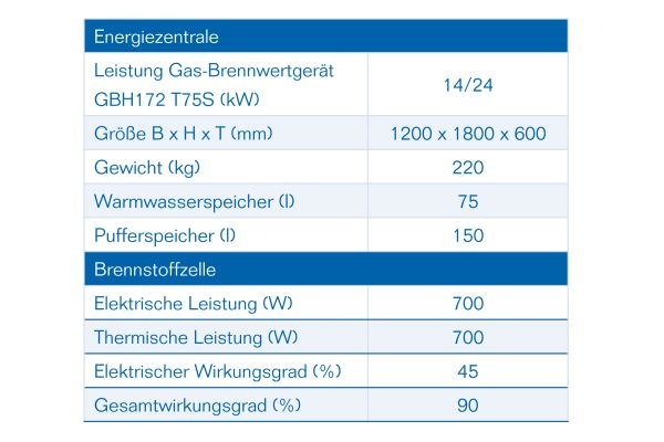 Die Tabelle zeigt die elektrische und thermische Leistung, den elektrischen Wirkungsgrad und den Gesamtwirkungsgrad einer Brennstoffzelle.