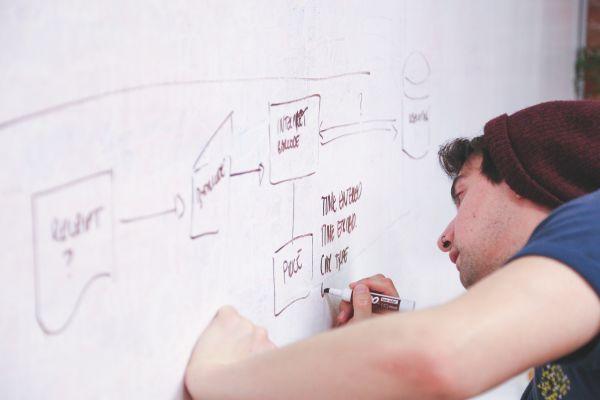 Ein Mann zeichnet ein Schaubild auf eine weiße Tafel.